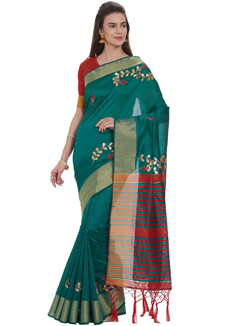Teal Fancy Cotton Silk Traditional Saree