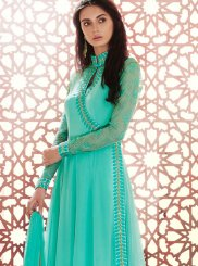 Teal Georgette Anarkali Salwar Suit