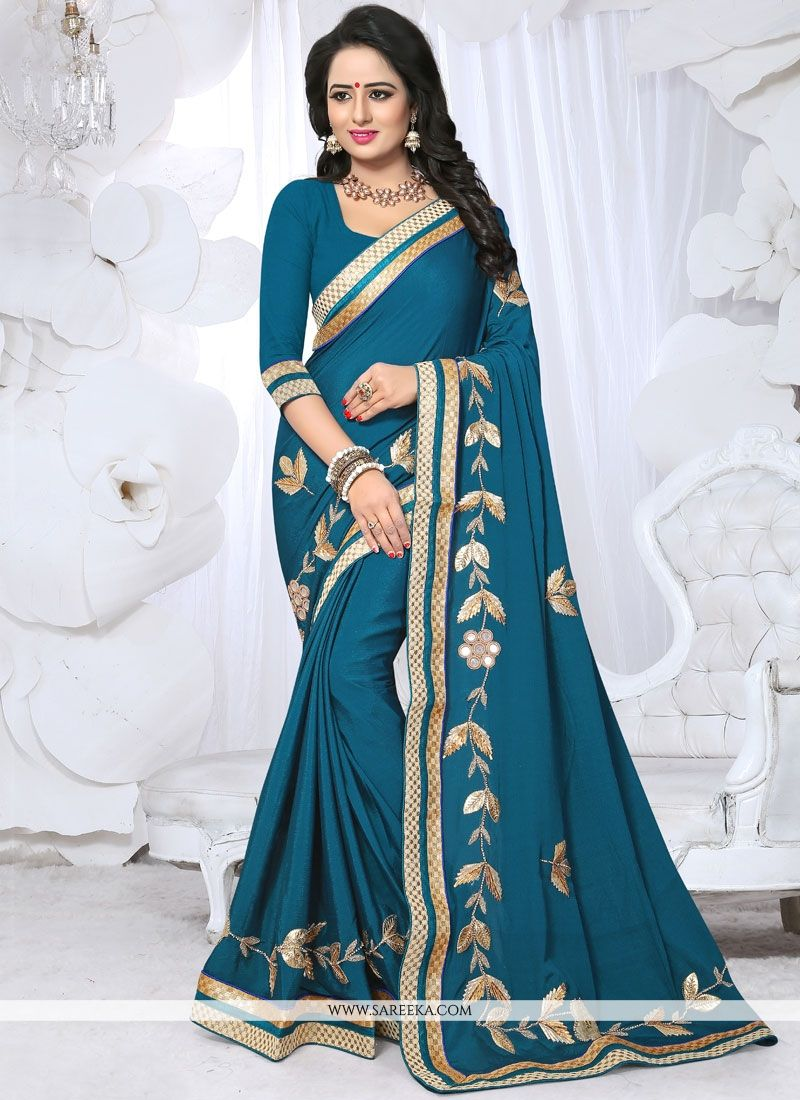 Teal Lace Work Fancy Fabric Classic Designer Saree