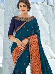 Teal Patch Border Traditional Designer Saree