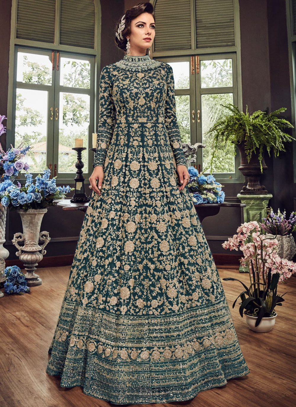 Teal Resham Floor Length Anarkali Suit