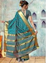 Teal Weaving Work Art Silk Designer Traditional Saree