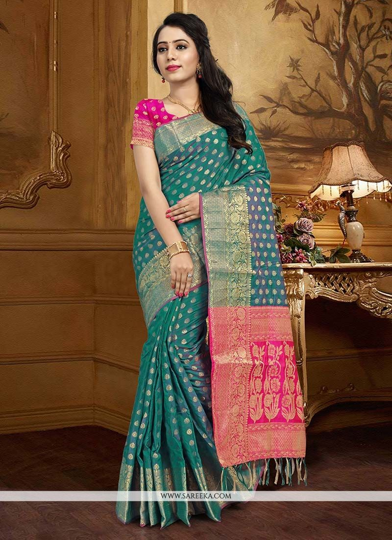 Teal Weaving Work Art Silk Designer Traditional Saree