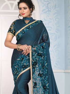 Teal Wedding Art Silk Designer Traditional Saree