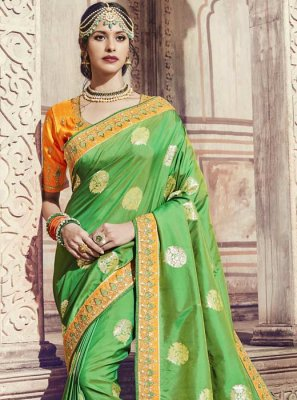 Thread Banarasi Silk Trendy Saree in Green