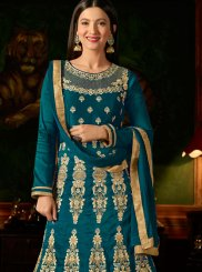 Thread Malbari Silk  Teal Anarkali Suit