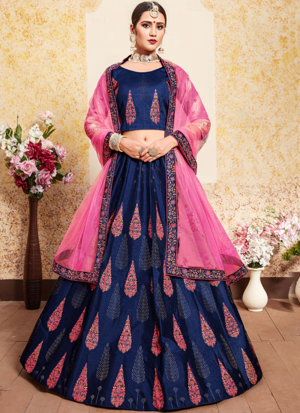 Thread Satin Navy Blue Designer Lehenga Choli