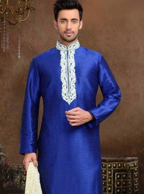 Thread Work Art Dupion Silk Kurta Pyjama in Blue