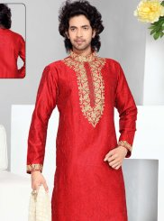 Thread Work Art Silk Kurta Pyjama in Red