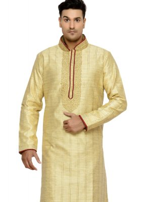 Thread Work Dupion Silk Kurta Pyjama in Gold