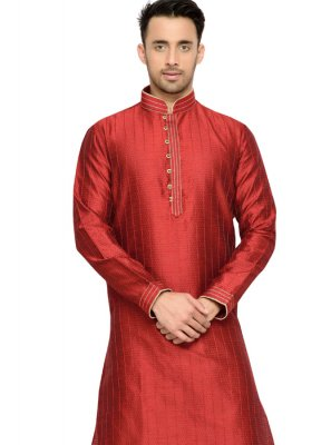 Thread Work Dupion Silk Kurta Pyjama in Red