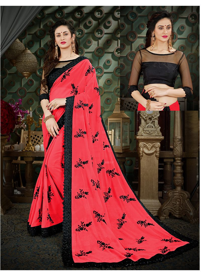 Thread Work Georgette Casual Saree