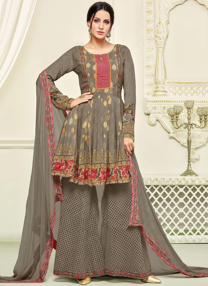 5fc1f119b3 Buy Online Thread Work Georgette Palazzo Salwar Kameez : 83867 -