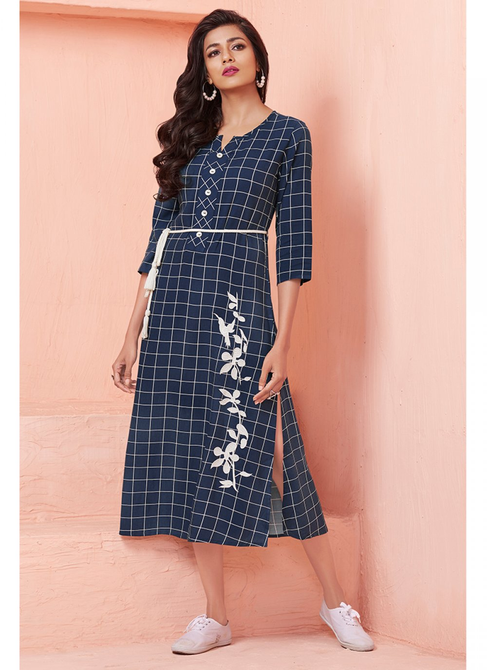 Thread Work Navy Blue Casual Kurti