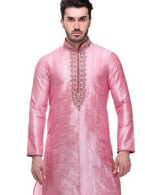 Thread Work Work Art Dupion Silk Pink Kurta Pyjama