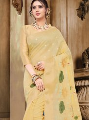 Thread Work Yellow Designer Traditional Saree