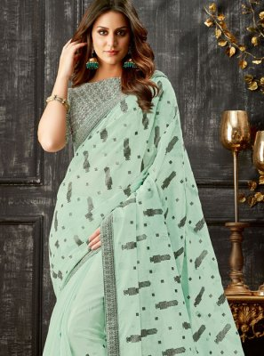 Tissue Blue Embroidered Classic Saree