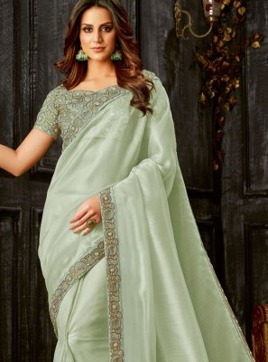 Traditional Designer Saree Embroidered Tissue in Green
