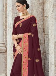 Traditional Designer Saree Patch Border Art Silk in Maroon