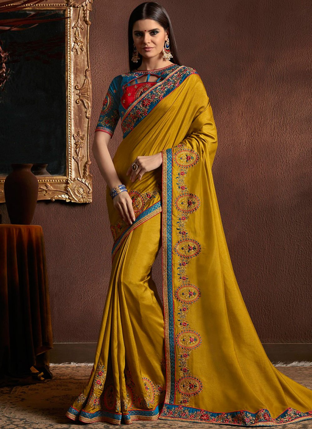 Traditional Saree Embroidered Faux Georgette in Mustard