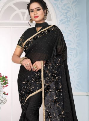 Traditional Saree Lace Art Silk in Black