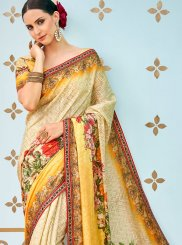 Traditional  Saree Print Art Silk in Multi Colour