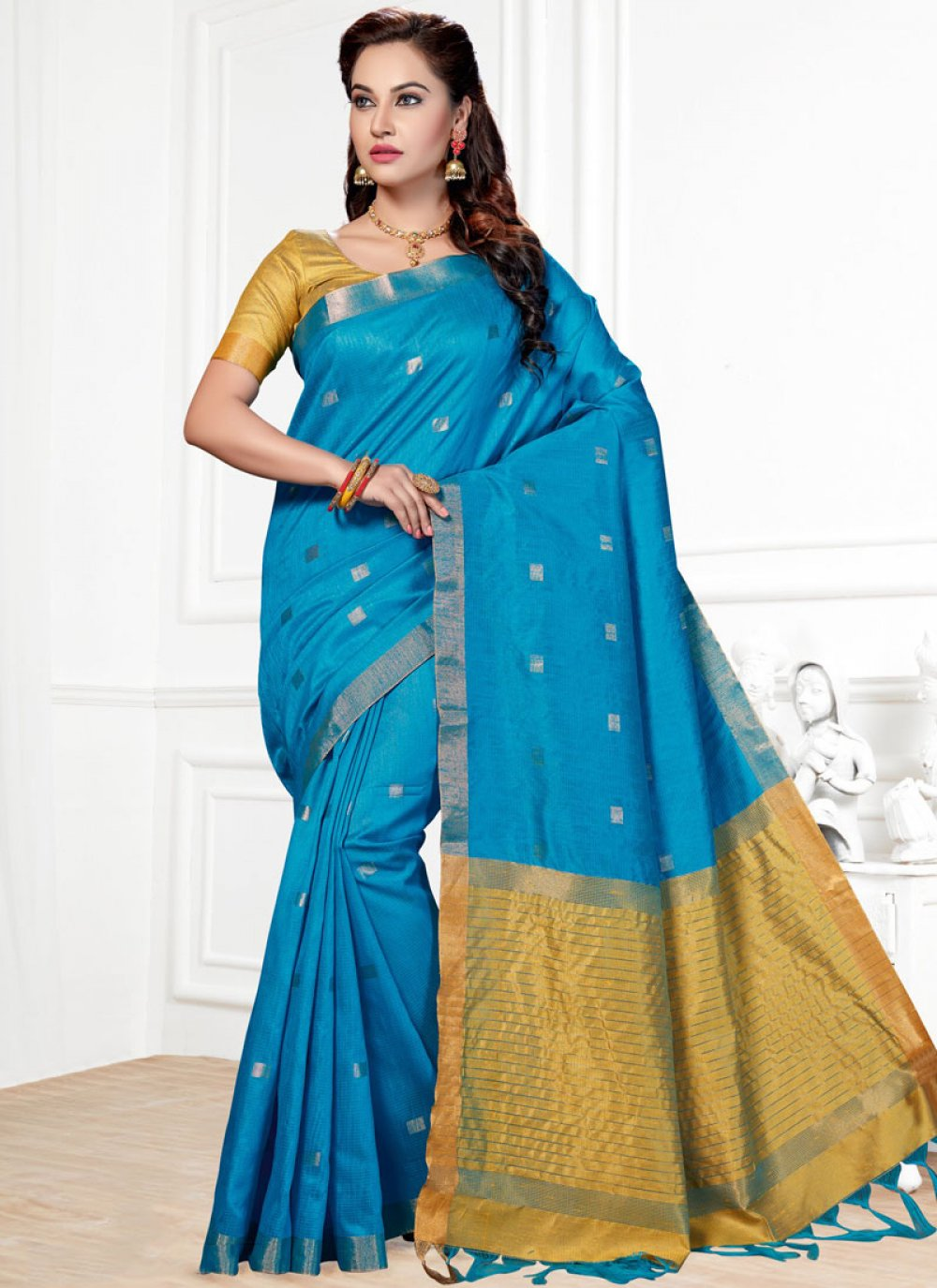 Traditional  Saree Woven Chanderi in Blue