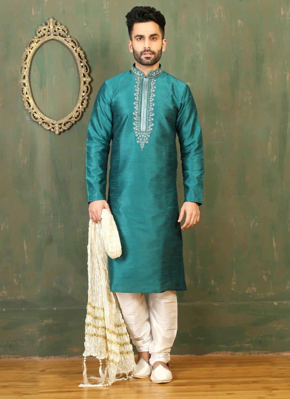 Turquoise Dupion Silk Embroidered Work Kurta Pyjama