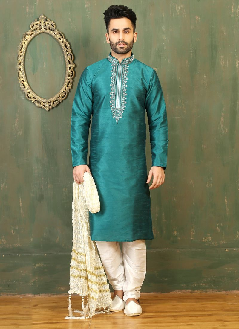 Turquoise Dupion Silk Embroidered Work Kurta Pyjama