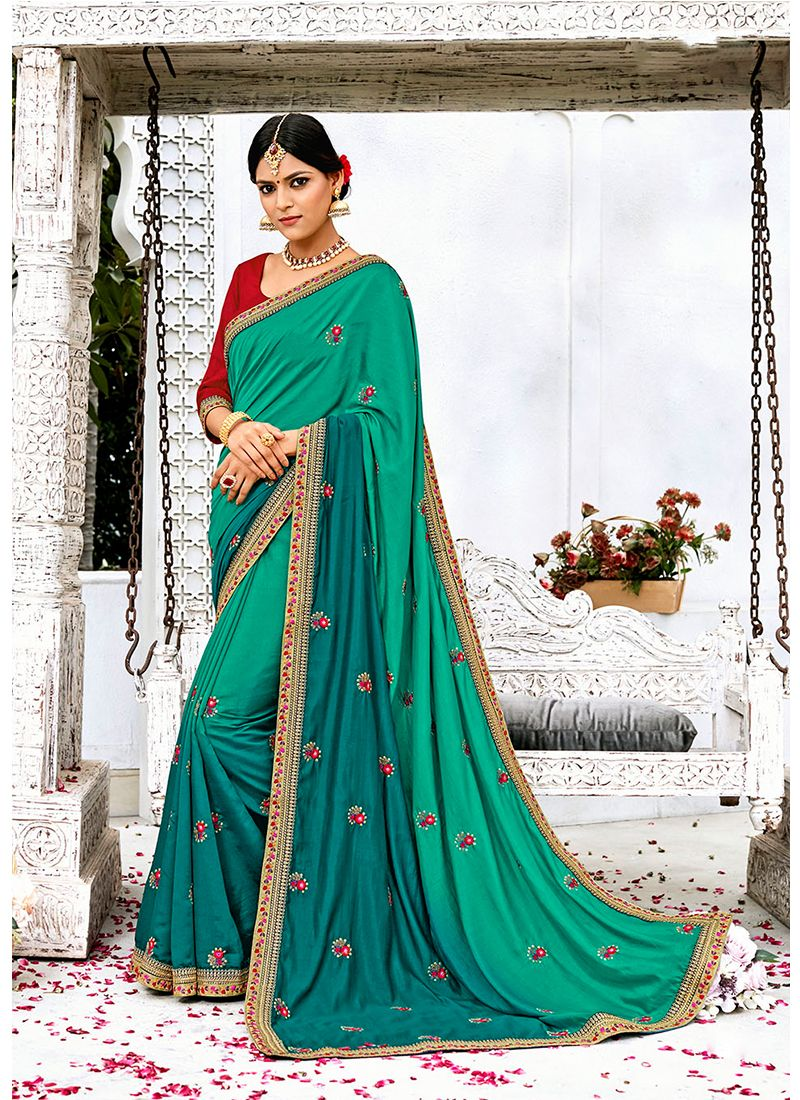 Turquoise Embroidered Work Designer Contemporary Saree