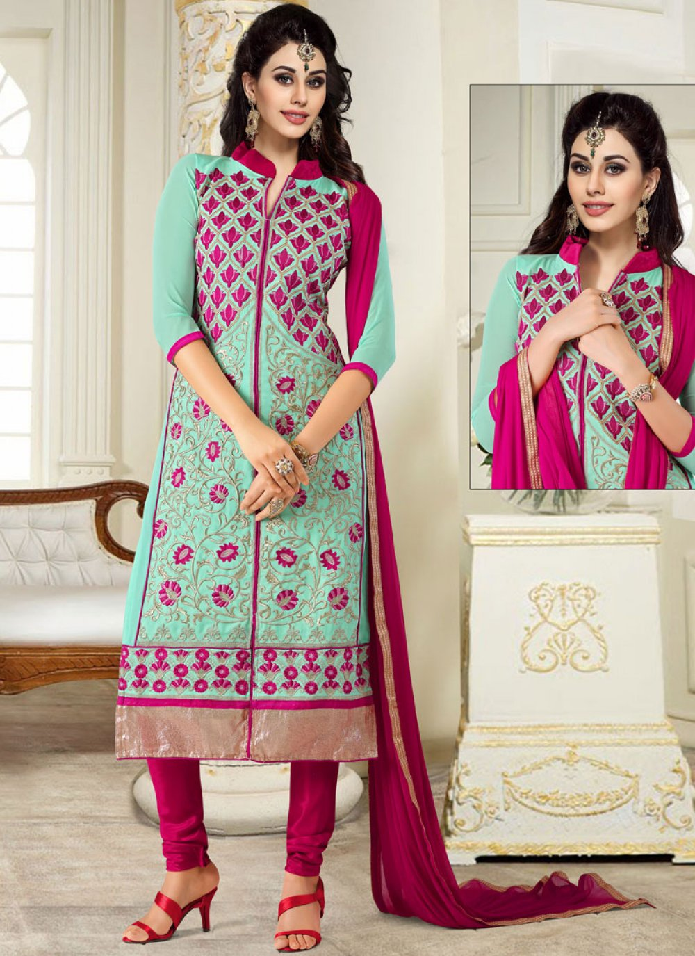 Turquoise Georgette Casual Salwar Suit