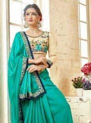 Turquoise Georgette Thread Work Classic Saree
