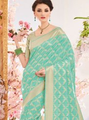 Turquoise Weaving Work Traditional  Saree