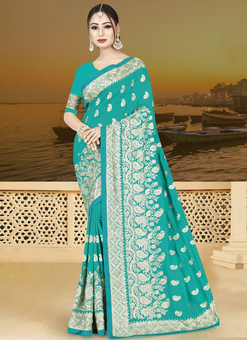 Turquoise Wedding Art Silk Traditional Designer Saree