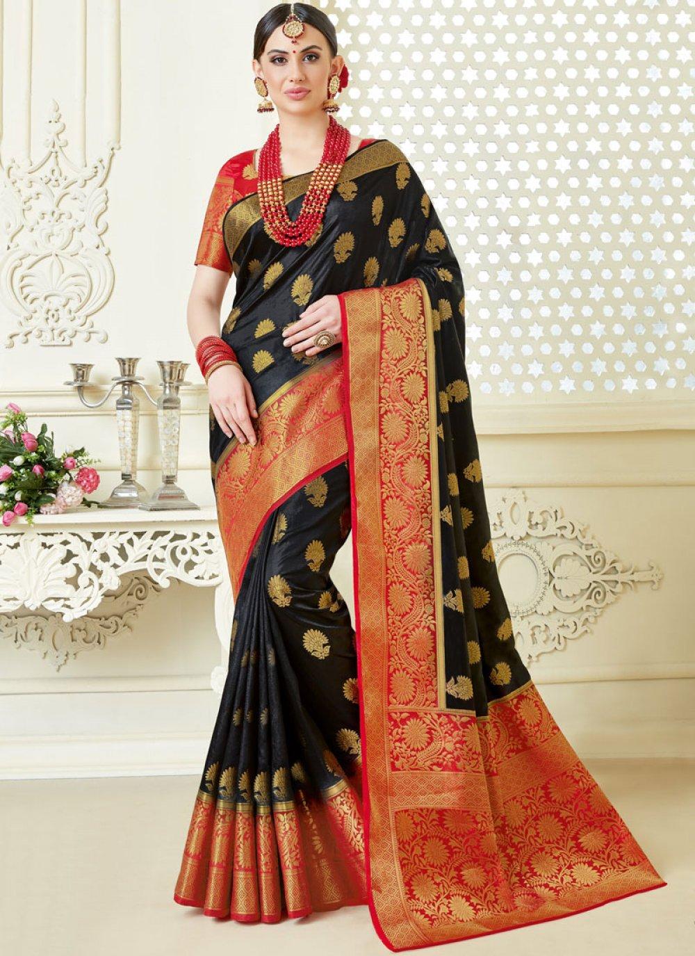 Tussar Silk Black Abstract Print Trendy Saree