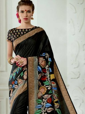 Tussar Silk Black Casual Saree