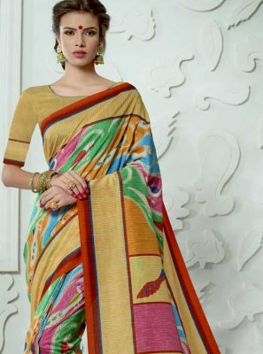 Tussar Silk Digital Print Work Casual Saree