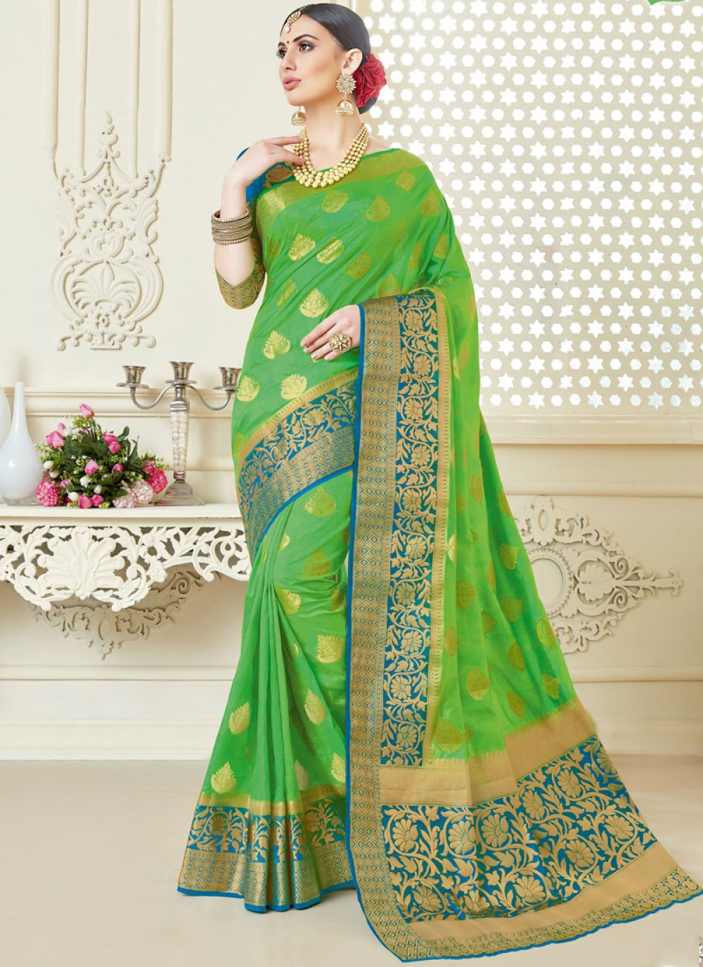 Tussar Silk Green Abstract Print Classic Saree