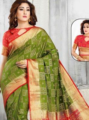 Tussar Silk Green and Red Classic Designer Saree