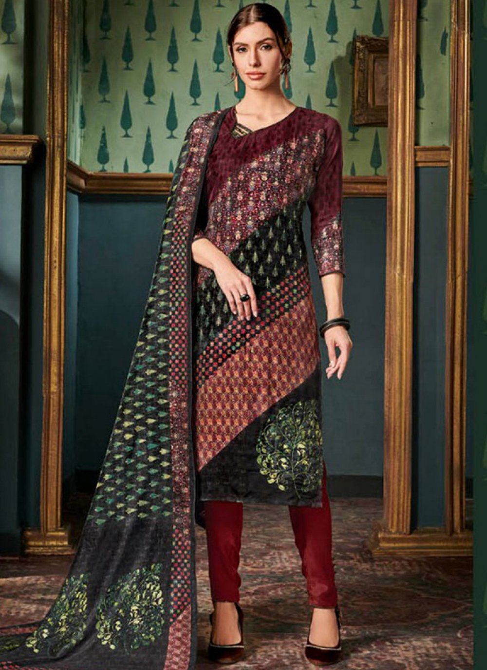 Tussar Silk Maroon Pant Style Suit