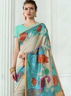 Tussar Silk Multi Colour Digital Print Work Casual Saree