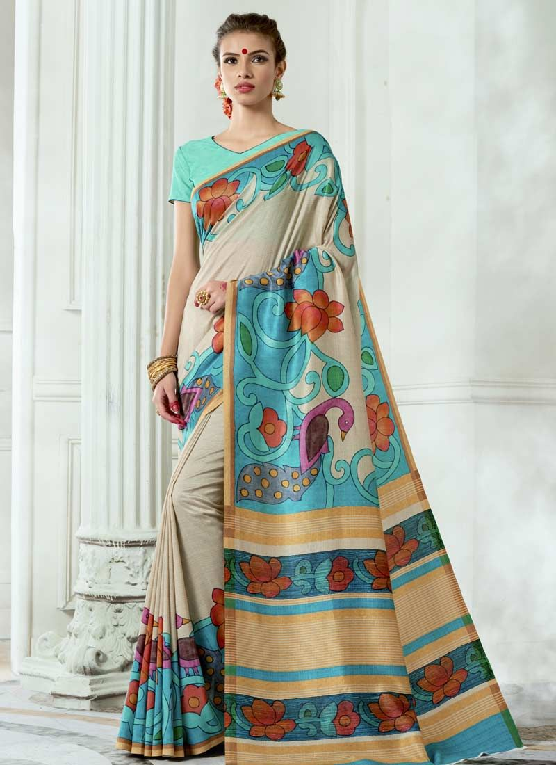 Tussar Silk Multi Colour Digital Print Work Casual Saree
