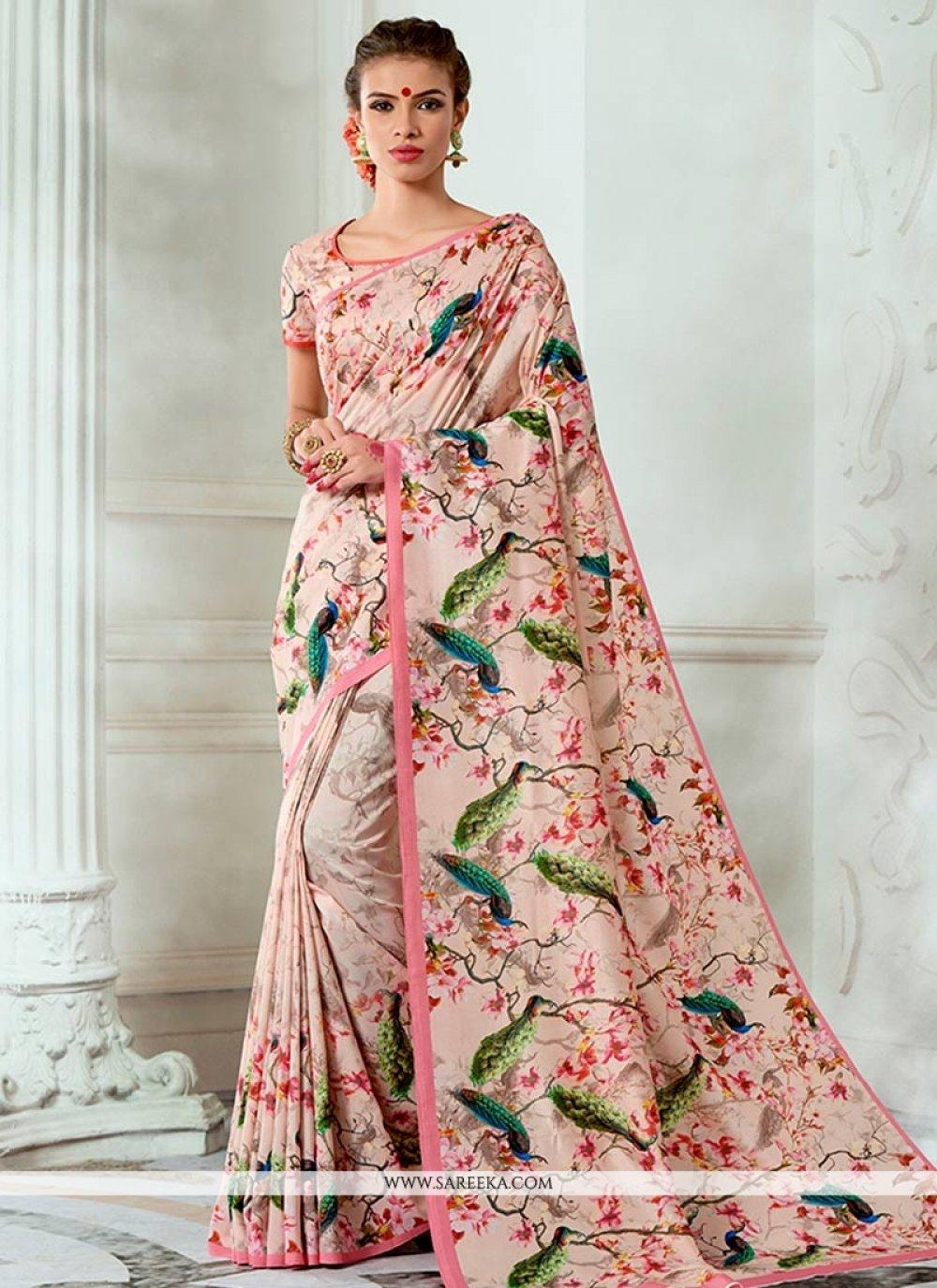Tussar Silk Multi Colour Print Work Designer Traditional Saree
