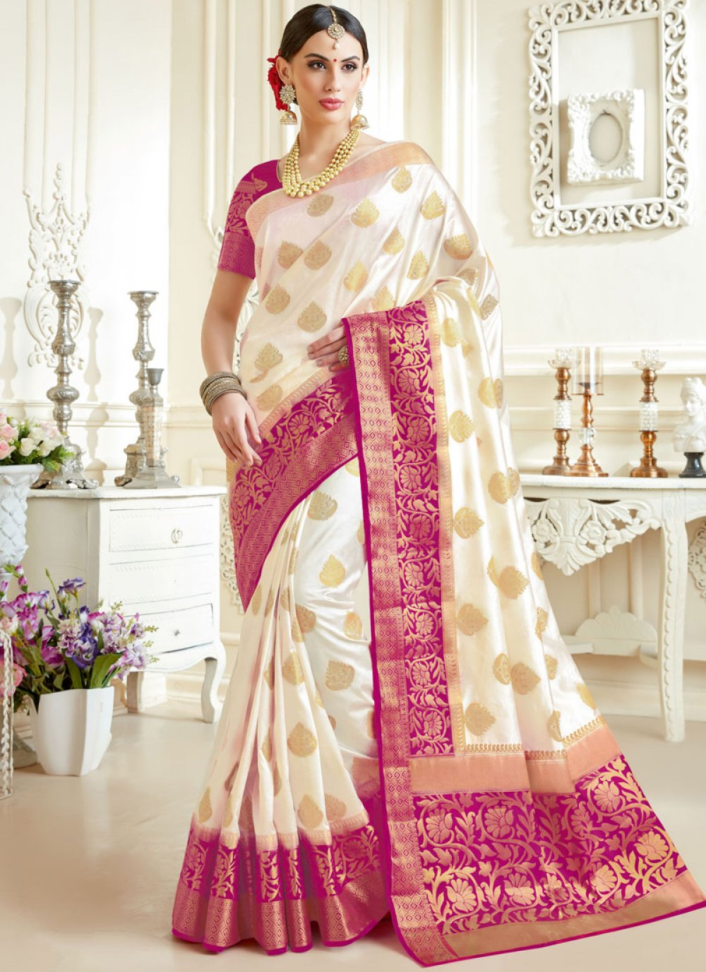 Tussar Silk Off White Designer Saree