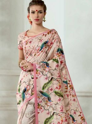 Tussar Silk Pink Casual Saree
