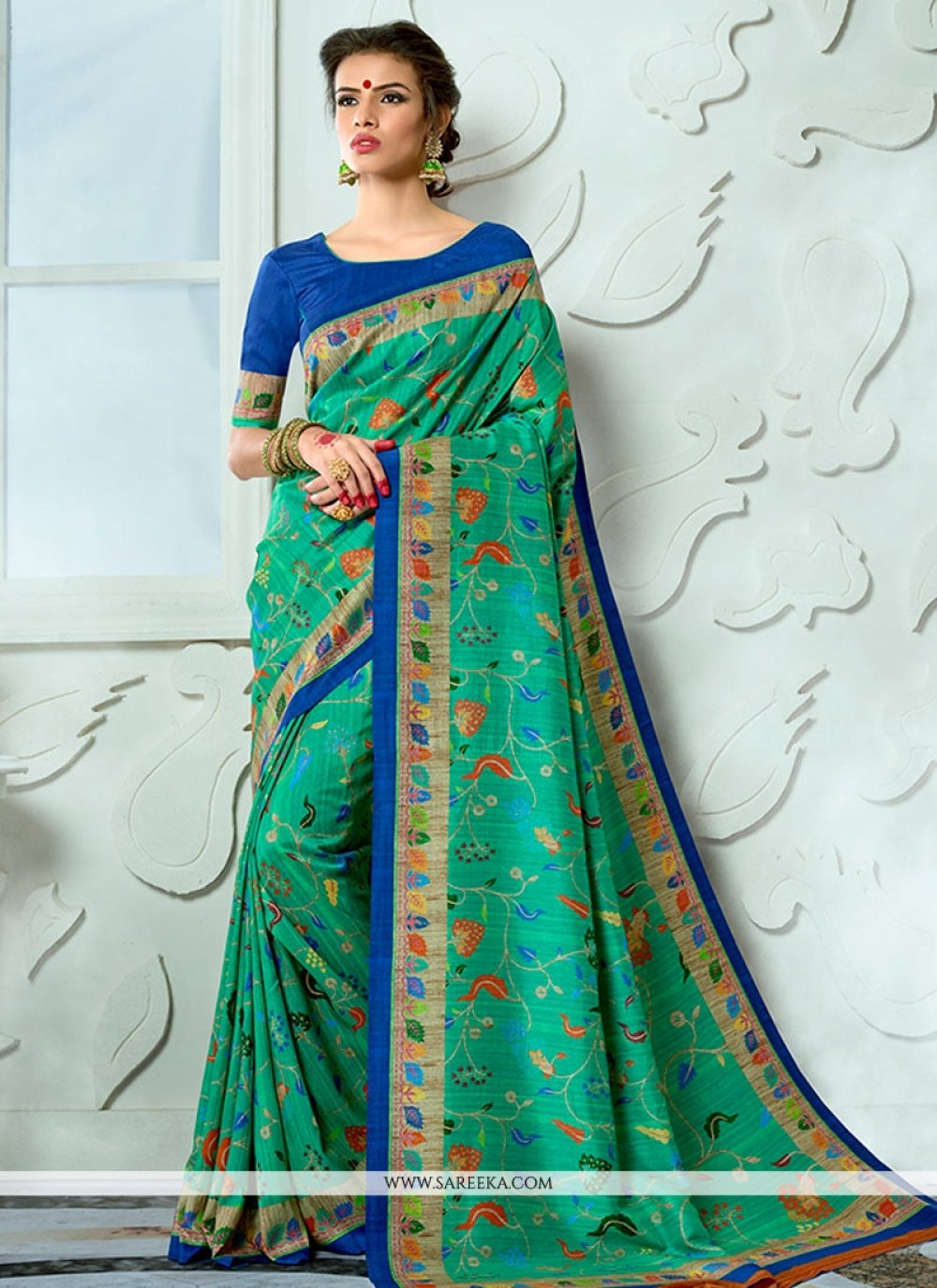 Tussar Silk Print Work Designer Traditional Saree