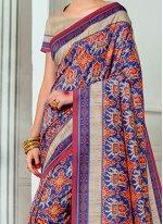 Tussar Silk Print Work Traditional Designer Saree
