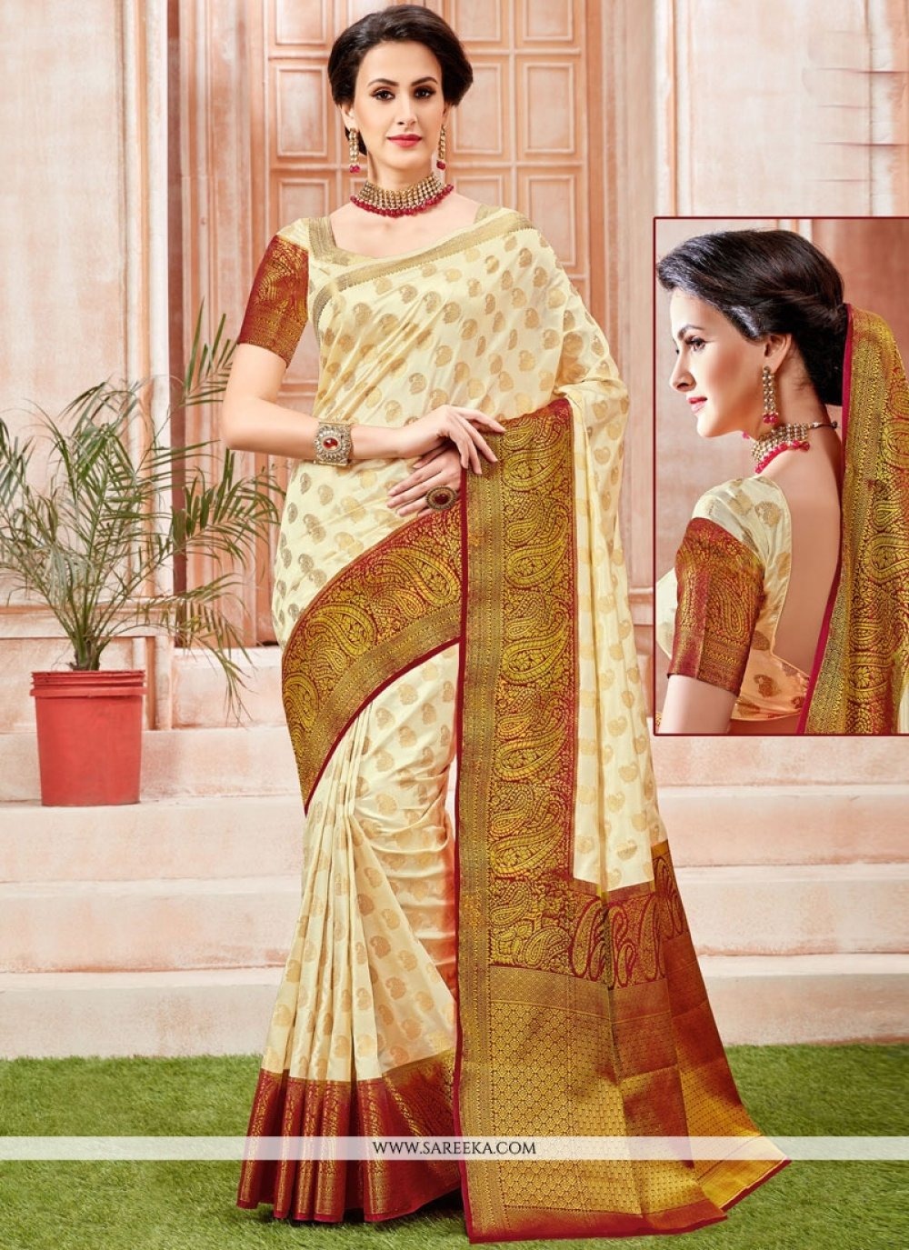 Tussar Silk Weaving Work Traditional Designer Saree