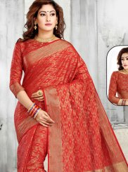 Tussar Silk Zari Classic Designer Saree in Red