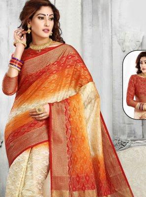 Tussar Silk Zari Classic Saree in Cream and Red